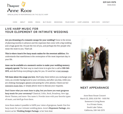 Wedding Services Web Page Portfolio Example