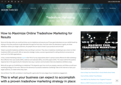 Marketing Web Page Portfolio Example